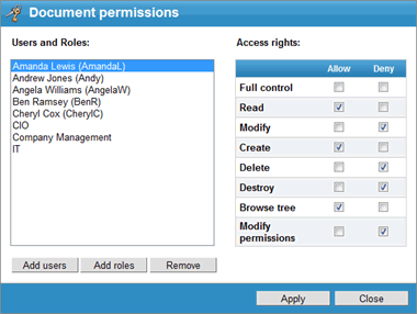 document management permissions